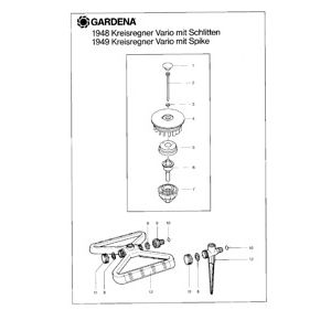 Запчасти для Gardena CIRCULAR SPRINKLER VARIO WITH SPIKE