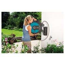 Катушка для шлангов настенная автоматическая 25 (в комплекте 25 м садового шланга 1/2 (13 мм), 2 м соединительного шланга, наконечник для полива, соединительные элементы)